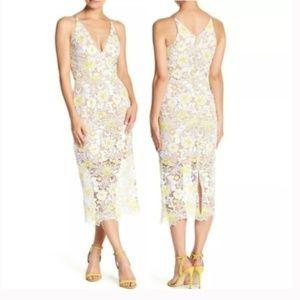 DRESS THE POPULATION Floral Crochet Midi Dress M